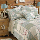 Paoletti Lavandou Patchwork 100% Cotton Scalloped Edge Quilted Bedspread, Green