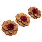 Men's Wooden Flower Boutonniere Brooch Lapel Pin Tuxedo Corsage Prom Accessories