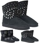 NEW LADIES BLACK WARM SLIPPER BOOTS WOMENS ANKLE HIGH TOP WINTER SHOES SLIPPERS
