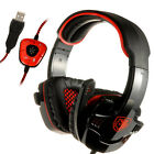 Sades USB Headband Stereo 7.1 Surround Headset Microphone PC Laptop Pro Gaming