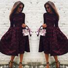 Women Long Sleeve Dress Plaid Check Tartan Swing Maxi Dress Cocktail Party Dress