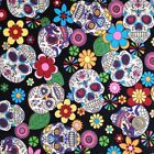per 1/2 metre/fat quarter 100 % cotton funky skulls  fabric goth