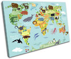 Animal Kids Nursery World Maps Flags SINGLE CANVAS WALL ART Picture Print