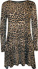 New Womens Leopard Animal Print Long Sleeve Flared Top Ladies Swing Dress 8-14
