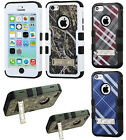 For iPhone 5C Rubber IMPACT TUFF HYBRID KICK STAND Case Phone Cover Accessory