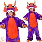 Kids Purple Monster Fancy Dress Costume Halloween Boys Girls Child Outfit