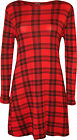 New Womens Red Tartan Check Print Long Sleeve Flared Top Ladies Swing Dress 8-14