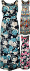 New Plus Womens Printed Pattern Sleeveless Ladies Stretch Long Maxi Dress 14-28