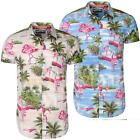 mens Soulstar Flamingo Print Cotton Summer Short Sleeve Hawaiian Shirt Size