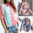Women's Chiffon Floral Leopard Lapel T-shirts Long Sleeve Casual Tops Blouse HOT