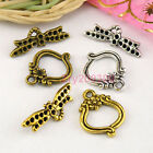 10Sets Tibetan Silver,Gold,Bronze Dragonfly Connectors Toggle Clasps M1380