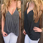 Sexy Women's Deep V Sleeveless Blouse Vest Casual Ruffle T-Shirts Tank Tops Gray