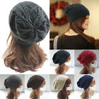 Men Womens Ladies Baggy Chunky Knit Knitted Braided Beanie Slouch Hat Ski Cap OD