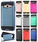 For Samsung Galaxy j3 Premium Brushed Metal HYBRID Rubber Case Snap Phone Cover