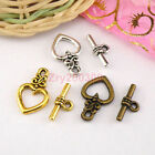 15Sets Tibetan Silver,Antiqued Gold,Bronze Heart Connectors Toggle Clasps M1410
