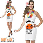 Caribbean Malibu Drink Ladies Fancy Dress Rum Alcohol Womens Costume Outfit New