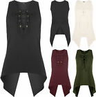 New Womens Lace Up Tied V-Neck Open Slit Back Sleeveless Dip Hem Vest Ladies Top