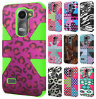 For Cricket LG Risio Rubber IMPACT TUFF HYBRID Case Skin Phone Cover