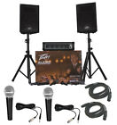 Peavey Audio Performer Pack Pro Audio DJ Speaker Mixer System W Mics Cables