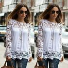 Ladies Womens Tops Lace Crochet Long Sleeve Shirt Casual Blouse UK8-12 10 Colors