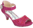 New Girls Fuchsia Hot Pink Glitter Dress Shoes Heels Dance Party Sandals Pageant
