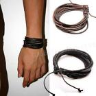 New Wrap Leather Bracelets Mens Braided Rope Fashion Jewelry Accessories STGG