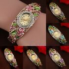 WOMEN'S LADY CLASSIC CRYSTAL COLORED ALLOY FLOWER BANGLE BRACELET ANALOG WATCH