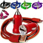 COLOURED BULLET CAR CHARGER+MICRO USB DATA CABLE FOR HTC DESIRE 610