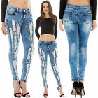 New Womens Mesh Net Sequin Distressed Crinkle Skinny Denim Jeans Size 6 8 10 14