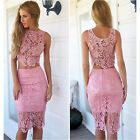 Women Skirt and Crop Top Tank Set Outfit Lace Bodycon Dress Party Clubwear sb32