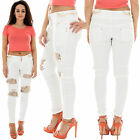 New Ladies High Waist Distressed Ripped Gold Lace Panel Studded Denim Jeans 6 14