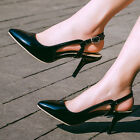 New Dress High Heels Womens Slingback Pointed Toe Kitten Heels Sexy Party Shoes