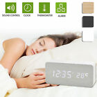 Digital LED Wooden Wood Desk Snooze Alarm Clock Timer Thermometer Voice Control
