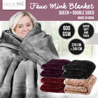 MINK BLANKET DOUBLE SIDED QUEEN SIZE SOFT PLUSH BED FAUX THROW RUG 220 x 240cm