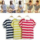Womens Casual Batwing Blouse Chiffon Striped Short Sleeve Loose Tops T-Shirt NEW