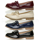 Womens ladies low heel fringe tassle contrast bow work school shoes loafers size
