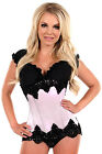 Plus Size Waist Trainer Silk with Black Beaded Lace Underbust Steel Boned Corset