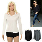 Women Cotton Soft Long Sleeve V Neck Loose Solid Casual T-Shirt Tops Blouse S#