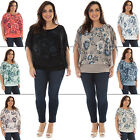 New Ladies Italian Lagenlook Floral Lace Trim Jersey Top Plus Size 10 12 14 16