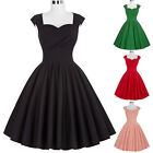 50'S 60S ROCK BLACK+ DRESS Vintage Style Swing Pinup Retro Housewife Party Dress