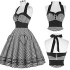 PLUS SIZE 3XL Women Vintage Swing 50's Halter Grid Housewife Pinup Prom Dress