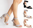 Womens Ladies fashion block heel ankle strap zip tassel gladiator sandals size