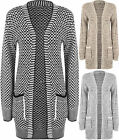 New Plus Size Womens Knitted Long Sleeve Open Pocket Top Ladies Cardigan 14-22