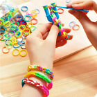 600-1200PCS S Clips Tie Dye Rainbow Rubber Bands Loom Refill DIY Bracelet Set CC