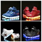 Boys Girls LED Lights Up USB Charger Velcro Sneakers High help Kids Shoes