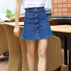 Womens A Line Denim Jean Skirt Button Front Mini Jeans Pencil Skirts