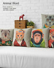 Colorful Animal Dog Cat Pillow Case Cushion Cover Square Linen Sofa Decor 17""