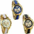Luxury Mens Gold Tone Stainless Steel Strap Watch Analog Quartz Wrist Watch New