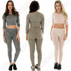 New Womens Ladies Ribbed Cropped Two Piece Tracksuit Size S/M M/L S M 8 10 12 14
