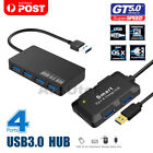 4 port super speed usb 3 0 hub portable slim built in cable expansion splitter